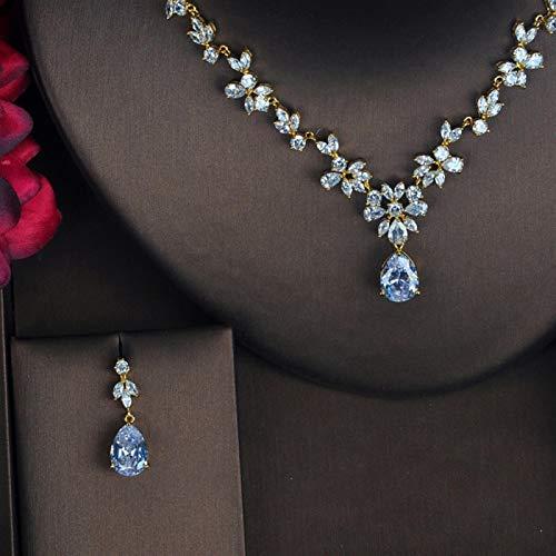 LIYDENG Joyas Nuevas Flor De Moda Conjuntos De Joyería De Circonia Cúbica Completa para Mujer Pendiente Collar Conjunto Accesorios (Color : Gold Color)