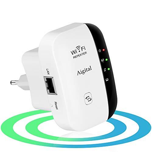 Aigital WLAN Verstärker Repeater (300 Mbit/s, 2.4GHz, Netzwerk Extender mit großer Reichweite, Ethernet-Port, WPS, AP Modus, Einfache Einrichtun, kompatibel zu Allen WLAN Geräten)-EU Stecker