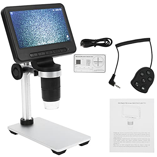 Cyrank Microscopio electrónico de 5 Pulgadas, Compuesto de Alta ampliación 1080p HD USB Kit de microscopio científico de Aumento Herramienta de inspección de Mantenimiento