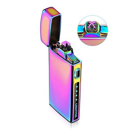 Feuerzeug, Lichtbogen Feuerzeug Elektro Feuerzeug E-feuerzeug Elektronisches Feuerzeug USB Aufladbar Windfest Plasma Feuerzeug Mit Batterieanzeige S2000 Multichrome