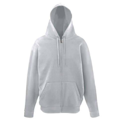 "Fruit of the Loom Unisex Unique College Full Zip Hooded/Hoodie Jacket (L (Chest 41-43"")) (Heather Grey)"