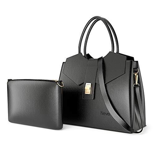 Nevenka Women's Tote Shoulder Handbag, PU Leather Fashion Satchel Purse Bag for Women with Adjustable Shoulder Strap (Black)