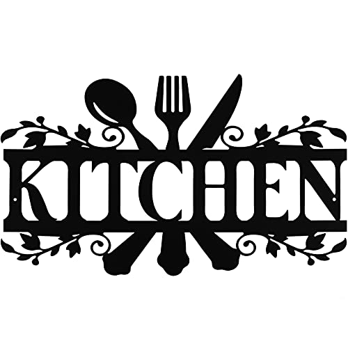 Kitchen Metal Sign Rustic Metal Kitchen Wall Decor Sign, Country Farmhouse Decoration for Your Home, Kitchen, or Dining Room, 14 x 8.8 Inches (Classic Style)
