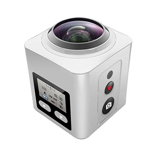 SEREE S2 Ultra HD 2.74K 360 Degree Action Waterproof Panoramic Sport DV Camera Multi-Mode WiFi VR Camera … (White)