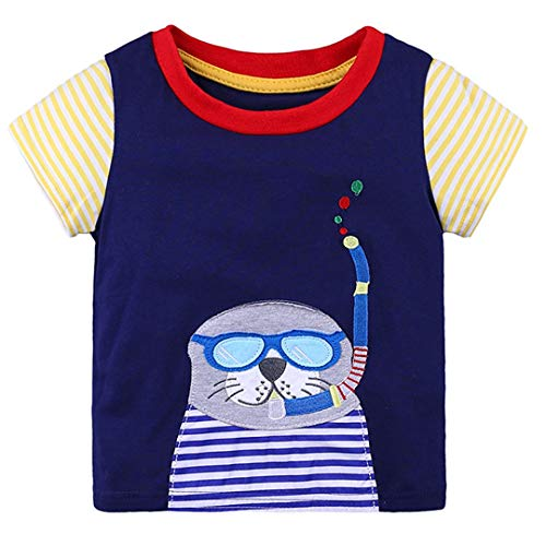 ALLAIBB T-Shirt en Coton à Manches Courtes (Color : Seal, Size : 6Y)