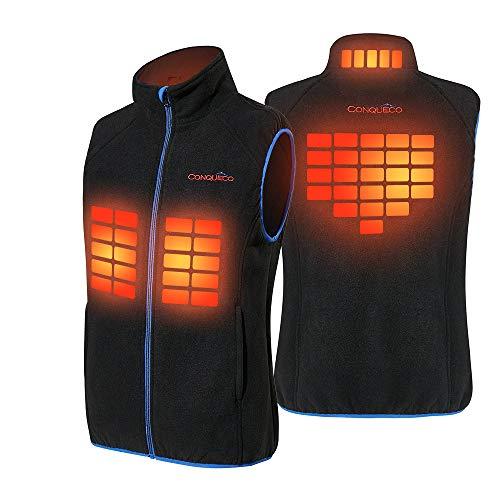 CONQUECO Men's Heated Fleece Vest Soft and Warm Fleece Waistcoat Vest in Winter