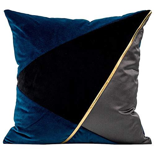 Tylyund Funda de cojín decorativa funda de almohada azul americano negro Pu Patchwork artístico geométrico sofá silla cama primo
