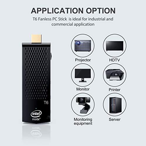 Fanless Mini PC,T6 Intel Atom Z8350 Windows 10 Pro Computer Stick 4GB DDR 64GB eMMC Support 4K HD,2.4G/5G WiFi,BT 4.2