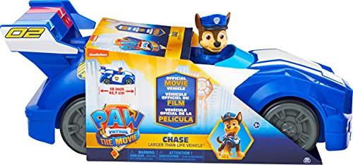 PAT PATROUILLE LE FILM - VEHICULE XL DE CHASE - Voiture de Police Pat Patrouille Avec Roues Fonctionnelles et Figurine Chiot Chase - 6063425 - Jouet Enfant 3 ans et +
