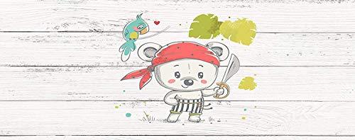 Imitation Bois Blanc Tête de Lit Impression NumériqueMotif Dessin Ours Blanc Pirate Infantile de 115x60cm |Couleur Blanc | Différentes Tailles | Cadre de lit imprimé, léger, élégant, résistant