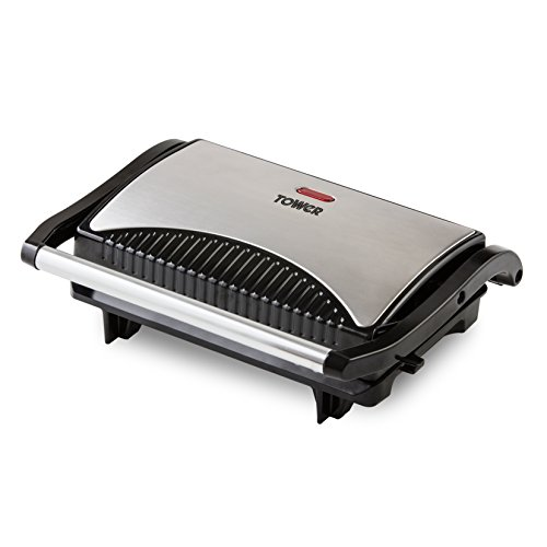 Tower Mini Panini Press Grill with Easy Clean Non-Stick Coated Plates, Automatic Temperature Control, Stainless Steel, 700 W, Silver/Black