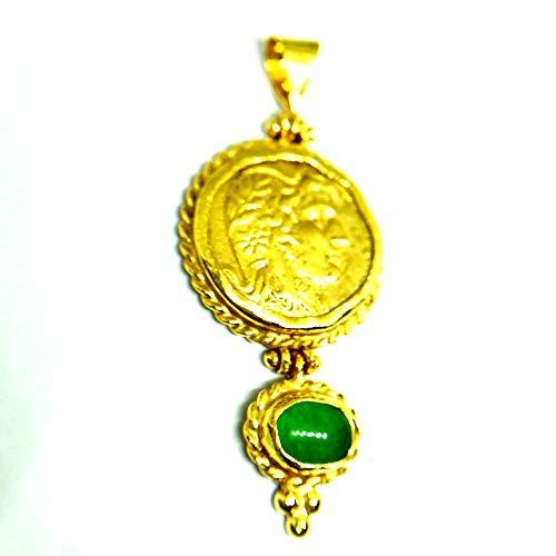izmirjewelry Handmade Roman Coin Designer Pendant with Jade 24K Gold Over 925K Sterling Silver
