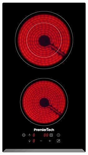 PremierTech Piano Cottura Vetroceramica da incasso 2 Zone 30cm Touch Control Funzione Boost Led Display Vetro front smussato (2 Fuochi 30cm)