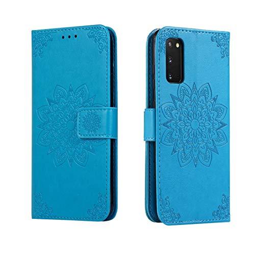 Shockproof LIJM For Galaxy S20 In Reliëf Bloem Van De Caleidoscoop Horizontale Flip Leather Case Met Houder & Card Slots & Wallet (Black) Decoratie (Color : Blue)