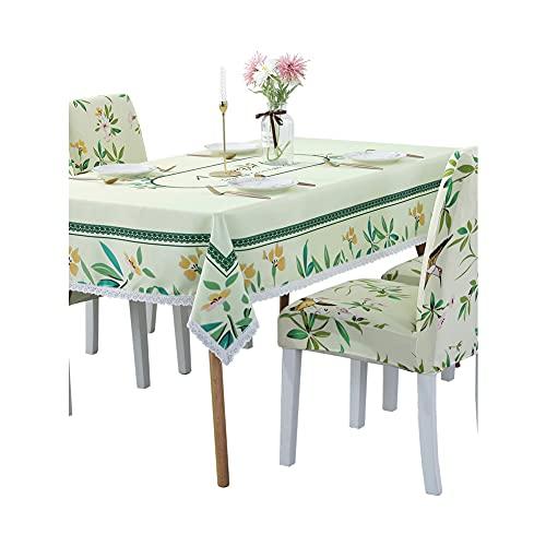 CAMILYIN Juego de manteles y fundas para sillas, diseño de flores verdes, rectangular, 130 x 180 cm, con 4 fundas para asientos, manteles impermeables y fundas para mesa