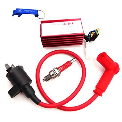 TC-Motor High Performance Racing Ignition Coil Aluminum 5 Pin AC CDI Box A7TC Spark Plug For 50cc 70cc 90cc 110cc 125cc 140cc 150cc Pit Dirt Trail Motor Bike Motorcycle Motocross (Red)