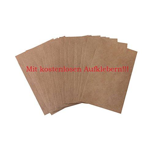 Logbuch-Verlag 50 kleine mini Papiertüte 8,5 x 13,2 cm Tüte Papier natur braun Kraftpapier Verpackung Kleinteile Gastgeschenk Samentüte Beutel