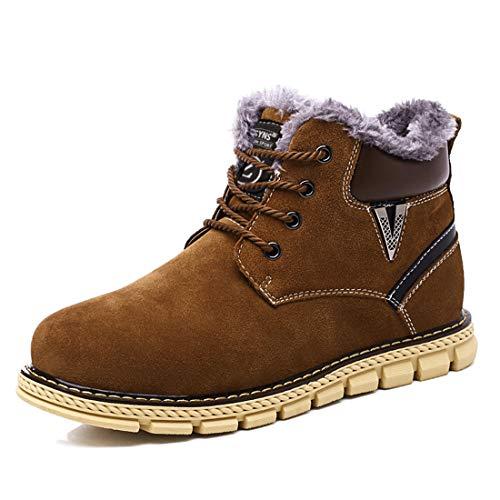 Męskie buty zimowe śniegowce zimowe buty wodoodporne botki ciepłe buty robocze na zewnątrz sznurowane buty zimowe, - Brązowy - 46 EU
