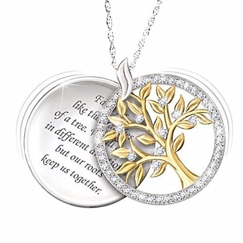 Yaowo 18k Chapado En Oro De Plata Esterlina Circón árbol De La Vida Joyería Personalizada Collar Día De La Madre Regalo Colgante