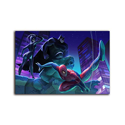 Megiri wall art for living room bat man spider man catwo man ,Print On Canvas Giclee Artwork for Wall Decor 36x24 inch