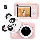 Best Fire デジタルカメラ キッズ デジカメ 可愛いパンダ 2400万画素 1080P録画 連写 写真 タイマー撮影 32G SDカード 2.4インチ 高画質画面 多機能 USB充電 カメラおもちゃ ミニカメラ 日本語設置対応 ピンク カメラカバー付け