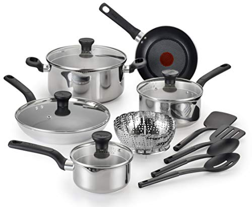 T-fal Simply Cook Stainless Steel and Polished Aluminum 14 PC Cookware Set, Induction Compatible, Dishwasher Safe, Oven Safe