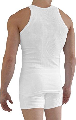 normani 5 x Herren Unterhemd Doppelripp Sportjacke - 100% gekaemmte Baumwolle Einlaufvorbehandelt Größe 5=XS