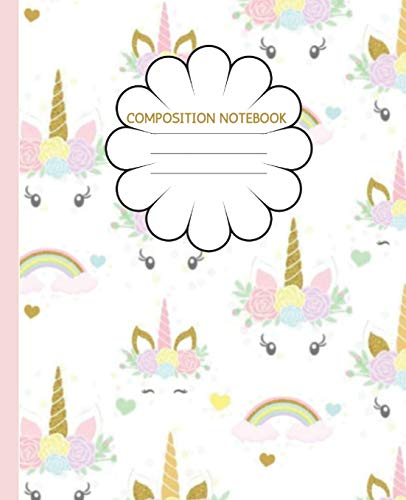 Composition Notebook: Cute Unicorn Face ,Pink & Gold | Trendy Wide Ruled Subject Book | Lined Writing Journal | Primary School, College, Teens Kids | ... Lists | Work, Home, Study Organizer (7.5 x 9