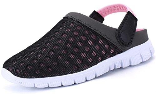 Clogs męskie pantofle siatkowe na lato, kapcie damskie, oddychające, buty ogrodowe z antypoślizgową miękką podeszwą, sandały na czas wolny, rozmiar 36-48, różowy - różowy - 41 EU