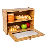INDRESSME Bamboo 2- Layer Large Capacity Bread Box Countertop Bread Storage Bread Boxes for Kitchen Counter Retro Bread Bin with Transparent Window, Fully Assembled