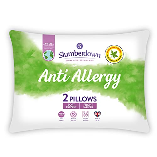 Slumberdown Anti Allergy White Pillows 2 Pack Soft Support Bed Pillows Designed for Front Sleepers...