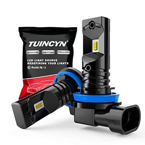 TUINCYN H11 H8 H9 Ampoules antibrouillard LED 6500K 1600LM Blanc CSP Chips Extrêmement Lumineux DRL Feux de Jour Feux antibrouillard 40W Haute Puissance 12V-24V DC (Pack de 2)
