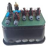 """1 x Jumbobox 65cm x 50cm x 31cm, 1 x PP4-Fachverteiler PP Winkel 4 x PP T-Stücke mit O-Ringen in der Verschraubung 4 x Magnetventil Hunter mit 1"""" AG- Durchflussregulierung - Stromloses öffnen und schließen möglich BETRIEBSDATEN - Durchfluss: --PGV-10..."""