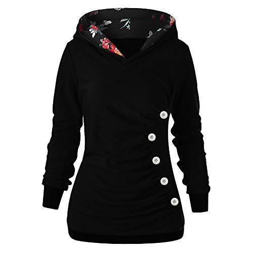 TOPKEAL Hoodie Pullover Damen Herbst Winter Langarm Plaid Kapuzenpullover Sweatshirt Rollkragen Tartan Winterpullover Jacke Mantel Tops Mode 2033 (Schwarz, M)