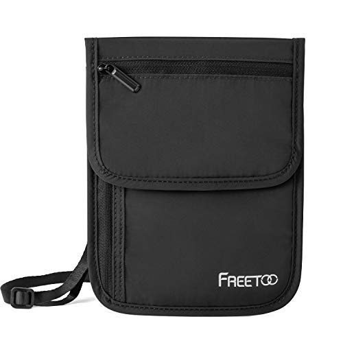 FREETOO Neck Wallet Travel Neck Pouch RFID Blocking, Travel Wallet Passport Holder Wallet for women Men, Multipurpose Storage Travel Pouch for passport and tickets Credit Card Phone Holder