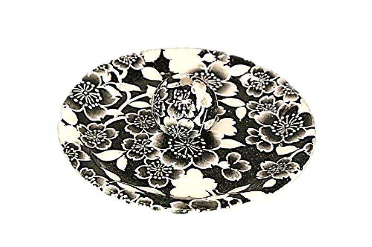 形成選出する同時9-35 桜友禅 黒 9cm香皿 お香立て お香たて 陶器 日本製 製造?直売品