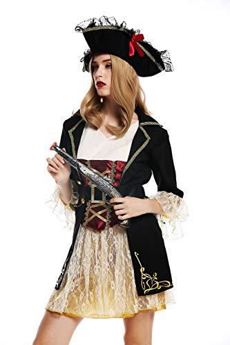 dressmeup - W-0266 Disfraz Mujer Feminino andrgino Pirata flibustera bucanera Barroco Talla S