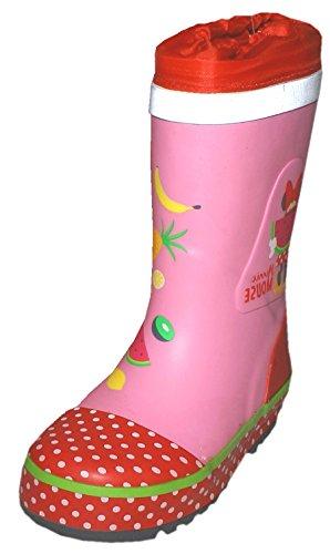 Maximo - Stivali in gomma per bambini Minnie Mouse, motivo Topolino, colore: Rosa/Rosso, Rosso (rosa, rosso, rosa.), 27 EU