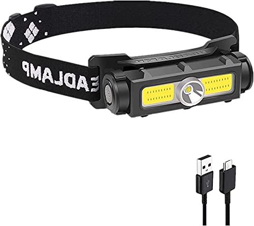 WINDFIRE Linterna Frontal LED USB Recargable, COB LED Linterna de Cabeza con 3 Modos, Impermeable IPX6, Superbrillante 3000 Lúmenes Linterna Frontal para Adultos y Niños, Pesca, Bicicleta, Camping