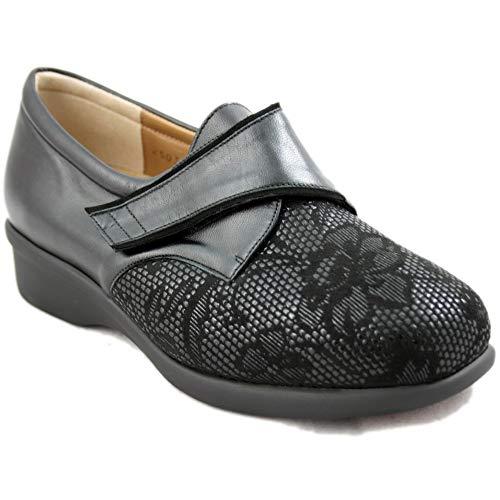 Alviflex 8350 - Zapatos de Mujer de Piel Especialmente Cómodos con Estampado Floral en la Punta - 38, Negre