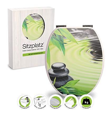 SITZPLATZ® WC-Sitz mit Absenkautomatik, Wellness Dekor 3-D Ruhequelle, Toilettensitz mit Holz-Kern & Fast-Fix Schnellbefestigung, Standard O-Form universal, Metallscharniere, Toilettendeckel, 40354 2