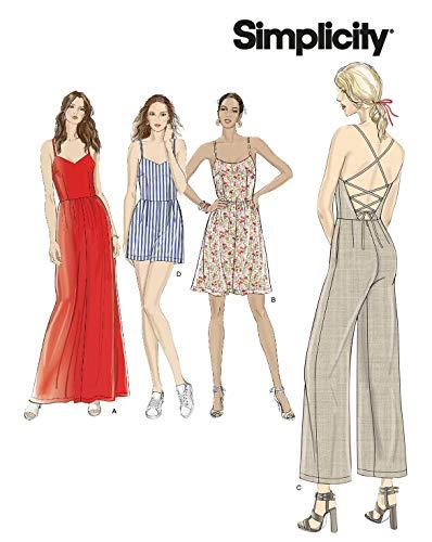 Simplicity Schnitmuster 7066.H5,Kleid und Overall [Damen, Gr.32-40] zum selber nähen, ideal für Fortgeschrittene [L3]