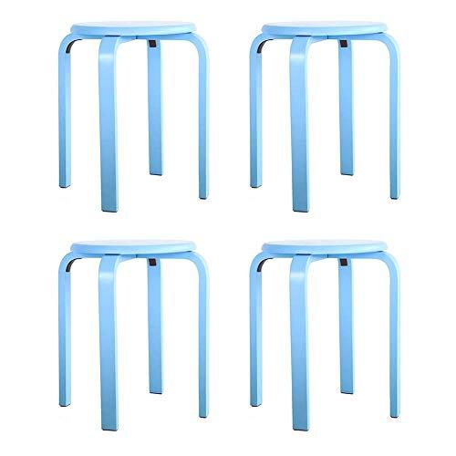 GEEZ Sgabello Sgabello Sgabello in Legno Color Caramella Sgabello Antiscivolo impilabile in Legno Soggiorno Set di 4 Sedia (Color : Blue)