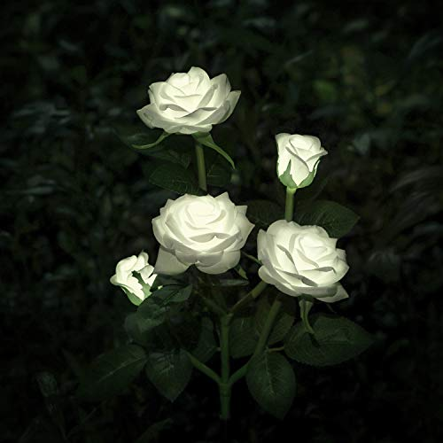 New Material Outdoor Realistic Solar Powered Rose Lights Flower Stake, for Garden Patio Yard Pathway Decoration, White