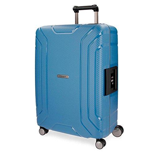Movom Newport Maleta grande Azul 53x75x31 cms Rígida Polipropileno Cierre TSA 107L 5Kgs 4 Ruedas Dobles