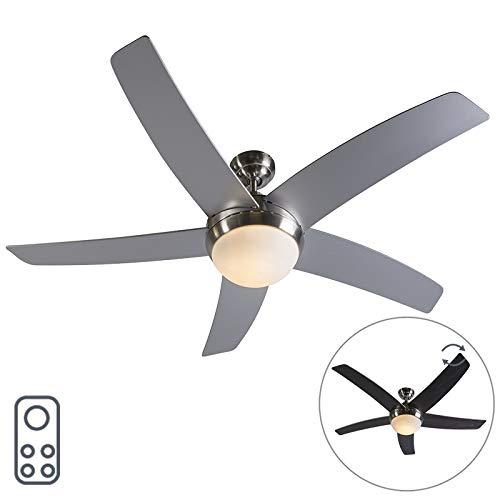 QAZQA Design/Modern Deckenventilator mit beleuchtung und fernbedienung Stahl/Silber/nickel matt mit Fernbedienung - Cool 52 / Innenbeleuchtung/Wohnzimmerlampe/Schlafzimmer/Küche Glas/Holz