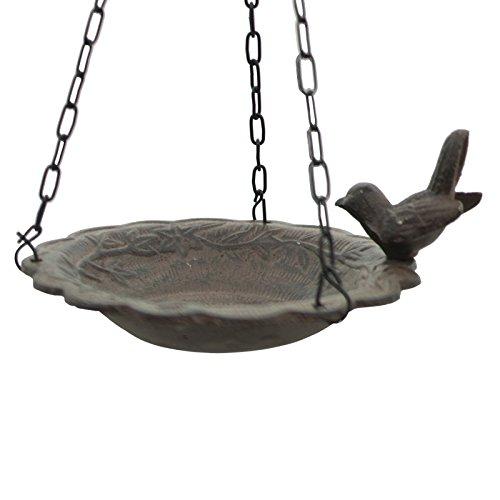 chemin_de_campagne Bain d'Oiseau Mangeoire à Suspendre avec Chaîne de Jardin 39 cm x 21 cm x 18 cm