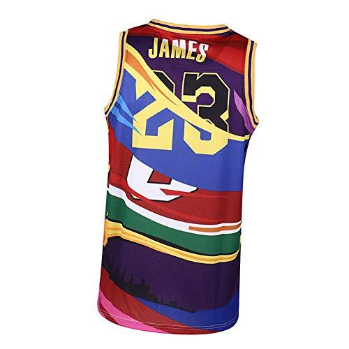 Camiseta de Baloncesto para Hombre Lebron James # 23 de Los Angeles Lakers, la última Camiseta de Estilo de Moda, Contraste de Color sin precedentes, Muy Adecuada para Fiestas-S