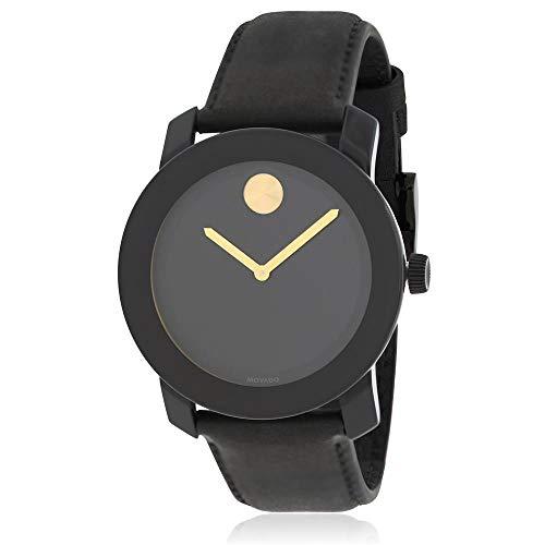 Movado Bold in acciaio INOX in pelle nera quadrante orologio al quarzo uomo...