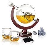 Aoweika Whisky Karaffe Globus, Karaffe Globus Decanter, whiskey Geschenke für Männer 850ml Whiskey-Weltkugel mit Schiff, 2 Whiskygläser 9 Whisky-Steine und Geschenktülle Samtbeutel